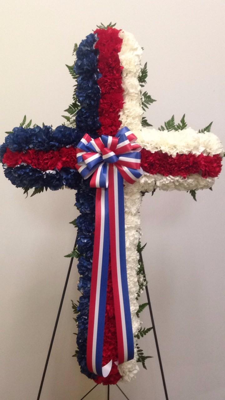 patriotic sympathy cross ed mccauslens florist